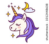 cute unicorn with sparkles and... | Shutterstock .eps vector #1012448638