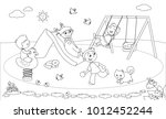 four children playing at the... | Shutterstock .eps vector #1012452244