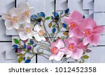 Flowers In Abstract Square...