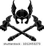 viking helm and war hammer | Shutterstock .eps vector #1012453273