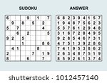vector sudoku with answer 114....   Shutterstock .eps vector #1012457140