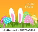 happy easter greeting card. a... | Shutterstock .eps vector #1012461844