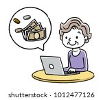 senior woman  pc and money | Shutterstock .eps vector #1012477126
