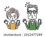 senior couple  smartphone ... | Shutterstock .eps vector #1012477189