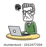 senior male  internet  personal ... | Shutterstock .eps vector #1012477204