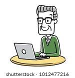 senior male  internet  personal ... | Shutterstock .eps vector #1012477216
