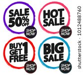 set sale tags  discount banners ... | Shutterstock .eps vector #1012488760