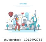 city dance. young couple...   Shutterstock .eps vector #1012492753