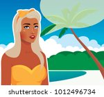 beautiful retro woman in a...   Shutterstock .eps vector #1012496734