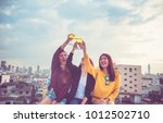 happy group of asia girl... | Shutterstock . vector #1012502710