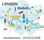 map of london attractions... | Shutterstock .eps vector #1012512358