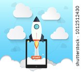 rocket symbol for startup...   Shutterstock .eps vector #1012512430