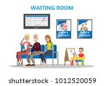 people sitting in waiting room... | Shutterstock .eps vector #1012520059