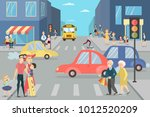 city street with people....   Shutterstock .eps vector #1012520209
