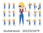 construction worker set. posing ... | Shutterstock .eps vector #1012521079
