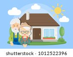 old couple with house. senior... | Shutterstock .eps vector #1012522396