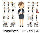 business woman set. posing and... | Shutterstock .eps vector #1012522456