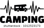 heartbeat pulse line camping... | Shutterstock .eps vector #1012523173