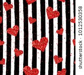 romantic red glitter hearts... | Shutterstock .eps vector #1012530358
