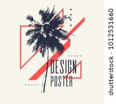vintage poster with palm tree...   Shutterstock .eps vector #1012531660