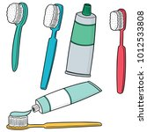 vector set of toothbrush and... | Shutterstock .eps vector #1012533808