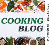 cooking blog concept. big set... | Shutterstock . vector #1012537123