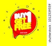 buy 1 get 1 free  sale speech...   Shutterstock .eps vector #1012539559