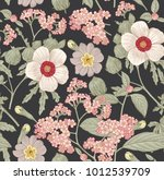 Stock vector seamless pattern beautiful fabric blooming realistic isolated flowers vintage background pr 1012539709