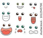 vector set of cartoon face | Shutterstock .eps vector #1012545700