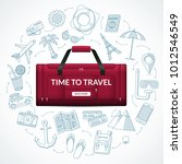 travel duffle luggage bag with... | Shutterstock .eps vector #1012546549