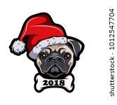pug in santa hat  dog. new year ... | Shutterstock .eps vector #1012547704