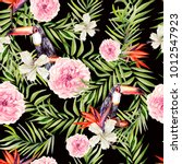 beautiful watercolor seamless ... | Shutterstock . vector #1012547923