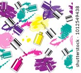 nail polish and splashes with... | Shutterstock .eps vector #1012549438