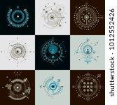 set of vector abstract... | Shutterstock .eps vector #1012552426