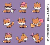kawaii foxes icons. different... | Shutterstock .eps vector #1012552549
