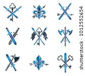 vintage weapon emblems set.... | Shutterstock .eps vector #1012552654