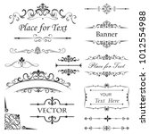 vintage floral dividers vector... | Shutterstock .eps vector #1012554988