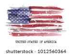 watarcolor flag of america .... | Shutterstock .eps vector #1012560364