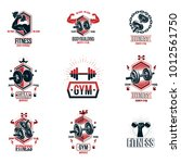 vector power lifting theme... | Shutterstock .eps vector #1012561750