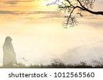 muslim women's hope prayer for... | Shutterstock . vector #1012565560
