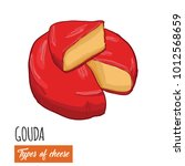 hand drawn colorful gouda cheese   Shutterstock .eps vector #1012568659