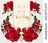 wedding invitation card... | Shutterstock .eps vector #1012571119