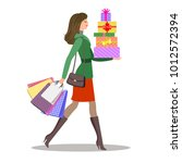 shopping girl. woman with... | Shutterstock . vector #1012572394