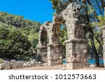 stone aqueduct in the ancient... | Shutterstock . vector #1012573663