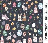 happy easter eggs cartoon... | Shutterstock .eps vector #1012578403