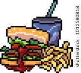 vector pixel art junk food set... | Shutterstock .eps vector #1012580818