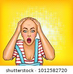 vector pop art shocked ... | Shutterstock .eps vector #1012582720