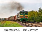Freight Train Hauled By Diesel...