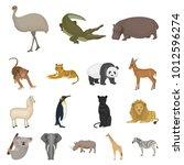 different animals cartoon icons ... | Shutterstock . vector #1012596274