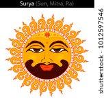 surya   sun  mitra  ra . vector ... | Shutterstock .eps vector #1012597546